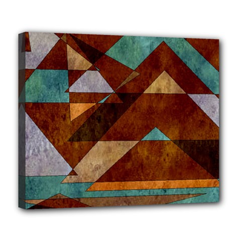 Turquoise And Bronze Triangle Design With Copper Deluxe Canvas 24  X 20   by digitaldivadesigns