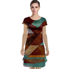 Turquoise And Bronze Triangle Design With Copper Cap Sleeve Nightdress by digitaldivadesigns