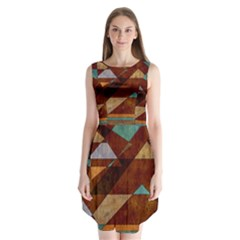Turquoise And Bronze Triangle Design With Copper Sleeveless Chiffon Dress   by digitaldivadesigns