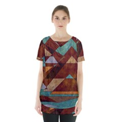 Turquoise And Bronze Triangle Design With Copper Skirt Hem Sports Top by digitaldivadesigns