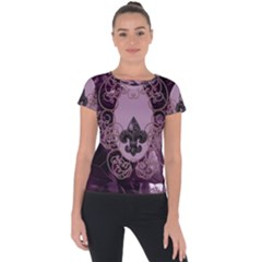 Soft Violett Floral Design Short Sleeve Sports Top  by FantasyWorld7