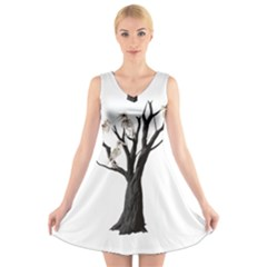 Dead Tree  V Neck Sleeveless Skater Dress by Valentinaart