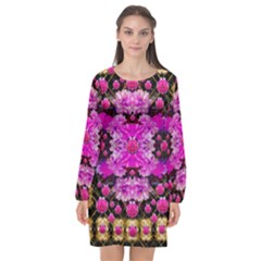 Flowers And Gold In Fauna Decorative Style Long Sleeve Chiffon Shift Dress  by pepitasart