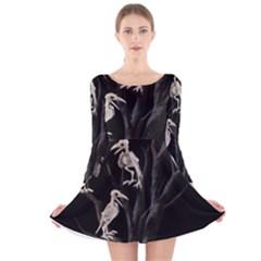 Dead Tree  Long Sleeve Velvet Skater Dress by Valentinaart