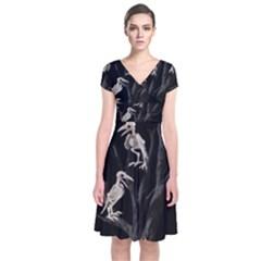 Dead Tree  Short Sleeve Front Wrap Dress by Valentinaart
