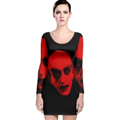 Dracula Long Sleeve Velvet Bodycon Dress by Valentinaart