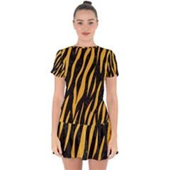Skin3 Black Marble & Orange Colored Pencil Drop Hem Mini Chiffon Dress by trendistuff
