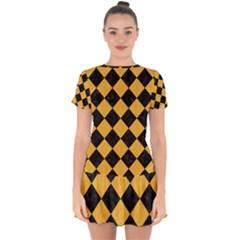Square2 Black Marble & Orange Colored Pencil Drop Hem Mini Chiffon Dress by trendistuff