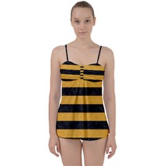 Stripes2 Black Marble & Orange Colored Pencil Babydoll Tankini Set