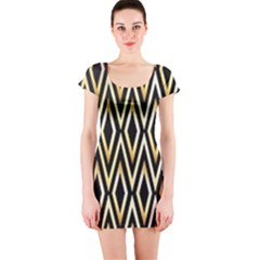 Gold,black,art Deco Pattern Short Sleeve Bodycon Dress by 8fugoso