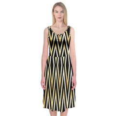 Gold,black,art Deco Pattern Midi Sleeveless Dress by 8fugoso