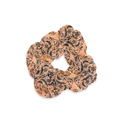 Damask1 Black Marble & Orange Watercolor Velvet Scrunchie