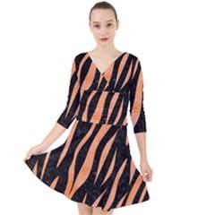 Skin3 Black Marble & Orange Watercolor (r) Quarter Sleeve Front Wrap Dress by trendistuff
