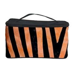 Skin4 Black Marble & Orange Watercolor (r) Cosmetic Storage Case by trendistuff