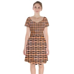 Woven1 Black Marble & Orange Watercolor Short Sleeve Bardot Dress by trendistuff