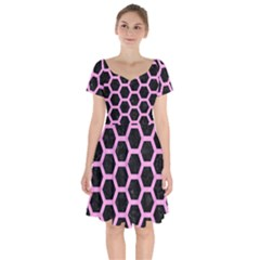 Hexagon2 Black Marble & Pink Colored Pencil (r) Short Sleeve Bardot Dress by trendistuff