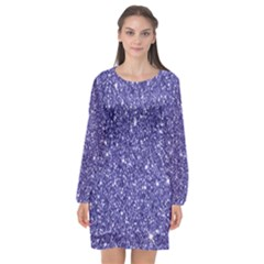 New Sparkling Glitter Print E Long Sleeve Chiffon Shift Dress