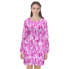 Pink Grunge Love Long Sleeve Chiffon Shift Dress  by KirstenStar
