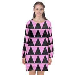 Triangle2 Black Marble & Pink Colored Pencil Long Sleeve Chiffon Shift Dress  by trendistuff
