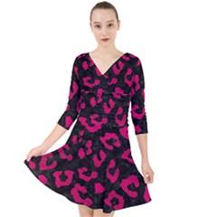 Skin5 Black Marble & Pink Leather Quarter Sleeve Front Wrap Dress by trendistuff