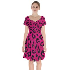 Skin5 Black Marble & Pink Leather (r) Short Sleeve Bardot Dress