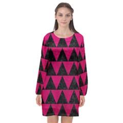 Triangle2 Black Marble & Pink Leather Long Sleeve Chiffon Shift Dress  by trendistuff