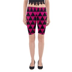Triangle3 Black Marble & Pink Leather Yoga Cropped Leggings by trendistuff