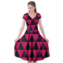Triangle3 Black Marble & Pink Leather Cap Sleeve Wrap Front Dress by trendistuff
