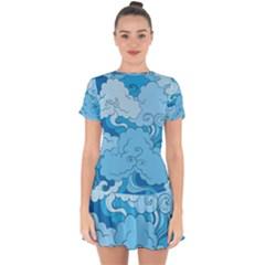 Abstract Nature 9 Drop Hem Mini Chiffon Dress by tarastyle