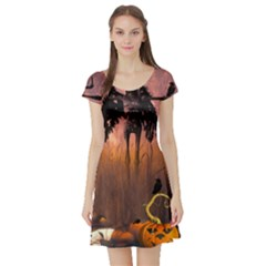 Halloween Design With Scarecrow, Crow And Pumpkin Short Sleeve Skater Dress by FantasyWorld7