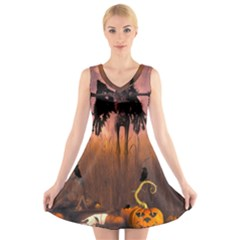 Halloween Design With Scarecrow, Crow And Pumpkin V Neck Sleeveless Skater Dress by FantasyWorld7