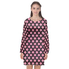 Circles3 Black Marble & Pink Watercolor Long Sleeve Chiffon Shift Dress  by trendistuff