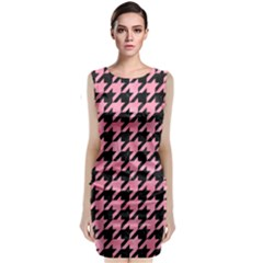 Houndstooth1 Black Marble & Pink Watercolor Classic Sleeveless Midi Dress by trendistuff