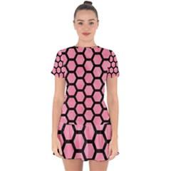 Hexagon2 Black Marble & Pink Watercolor Drop Hem Mini Chiffon Dress by trendistuff