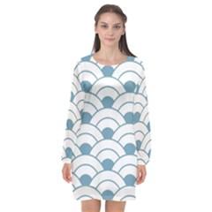 Art Deco Teal White Long Sleeve Chiffon Shift Dress  by 8fugoso