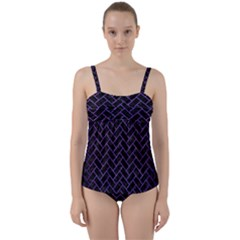 Brick2 Black Marble & Purple Brushed Metal (r) Twist Front Tankini Set
