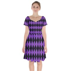 Diamond1 Black Marble & Purple Brushed Metal Short Sleeve Bardot Dress by trendistuff