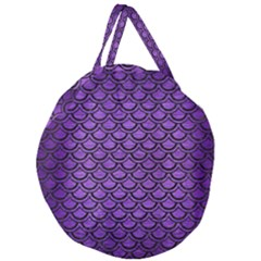 Scales2 Black Marble & Purple Brushed Metal Giant Round Zipper Tote