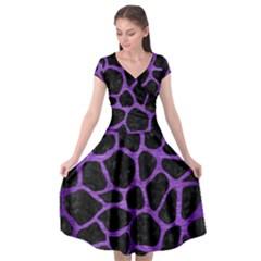 Skin1 Black Marble & Purple Brushed Metal Cap Sleeve Wrap Front Dress by trendistuff