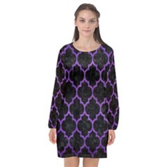 Tile1 Black Marble & Purple Brushed Metal (r) Long Sleeve Chiffon Shift Dress  by trendistuff