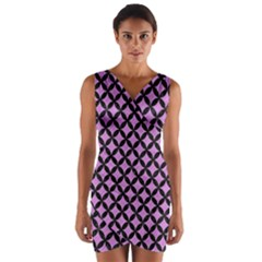 Circles3 Black Marble & Purple Colored Pencil Wrap Front Bodycon Dress by trendistuff