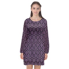 Hexagon1 Black Marble & Purple Colored Pencil (r) Long Sleeve Chiffon Shift Dress  by trendistuff