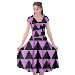 Triangle2 Black Marble & Purple Colored Pencil Cap Sleeve Wrap Front Dress by trendistuff