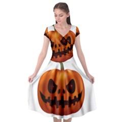 Halloween Pumpkin Cap Sleeve Wrap Front Dress