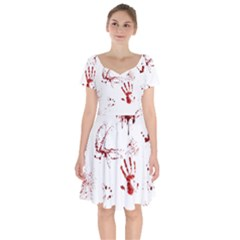 Massacre  Short Sleeve Bardot Dress by Valentinaart
