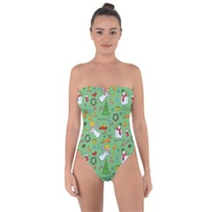 Christmas Pattern Tie Back One Piece Swimsuit by Valentinaart