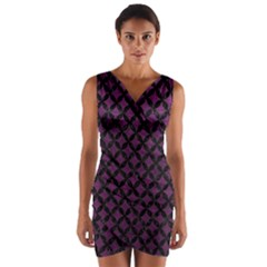 Circles3 Black Marble & Purple Leather Wrap Front Bodycon Dress by trendistuff
