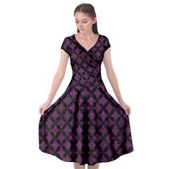 Circles3 Black Marble & Purple Leather Cap Sleeve Wrap Front Dress by trendistuff