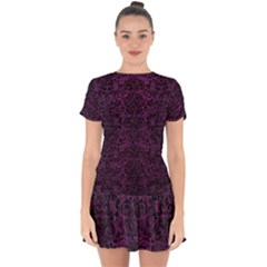 Damask2 Black Marble & Purple Leather Drop Hem Mini Chiffon Dress by trendistuff