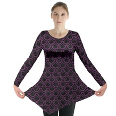 Scales2 Black Marble & Purple Leather (r) Long Sleeve Tunic